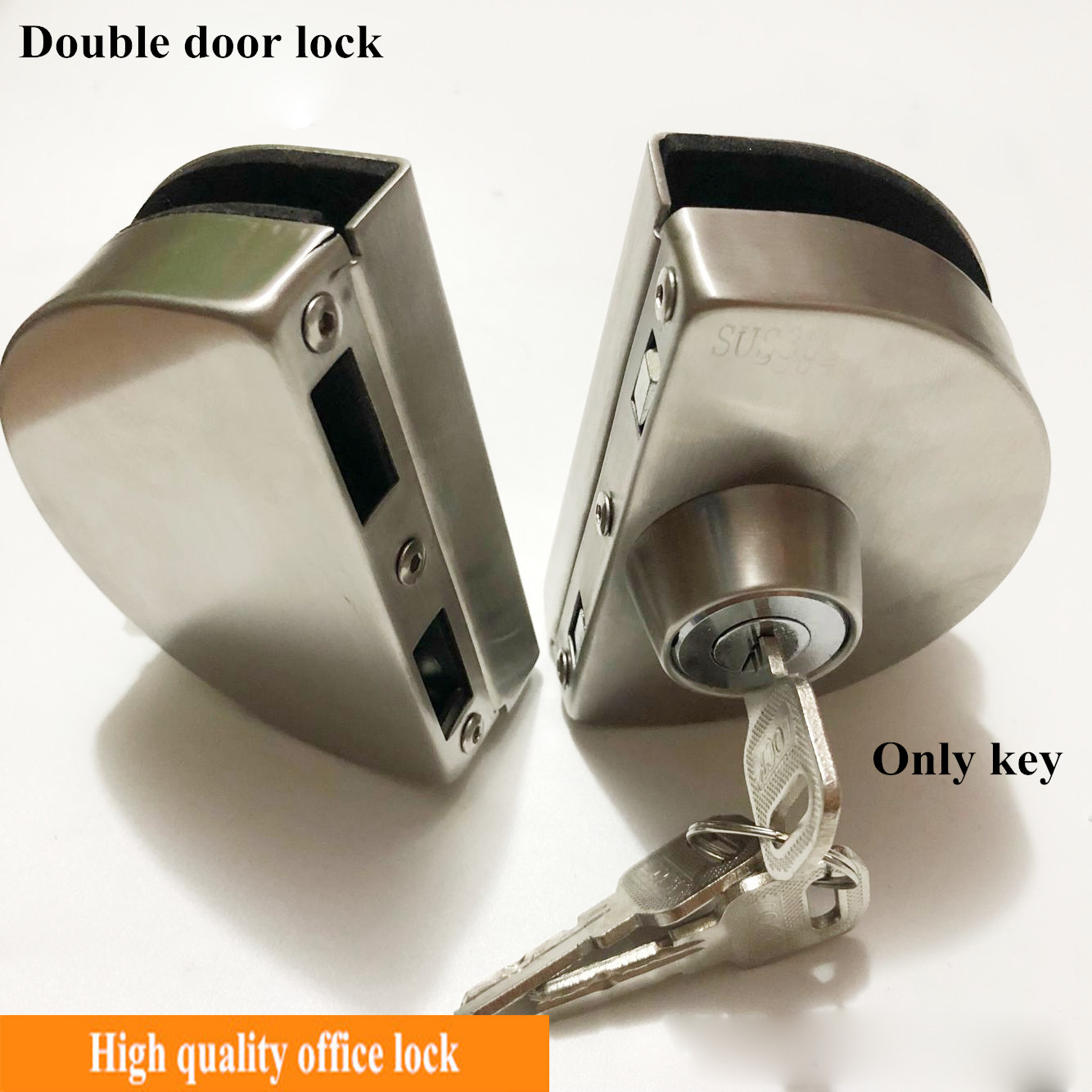 1 Set Double Open Glass Door Lock Stainless Steel Double Bolt Sliding Door Lock 10-12mm Office Glass Safety