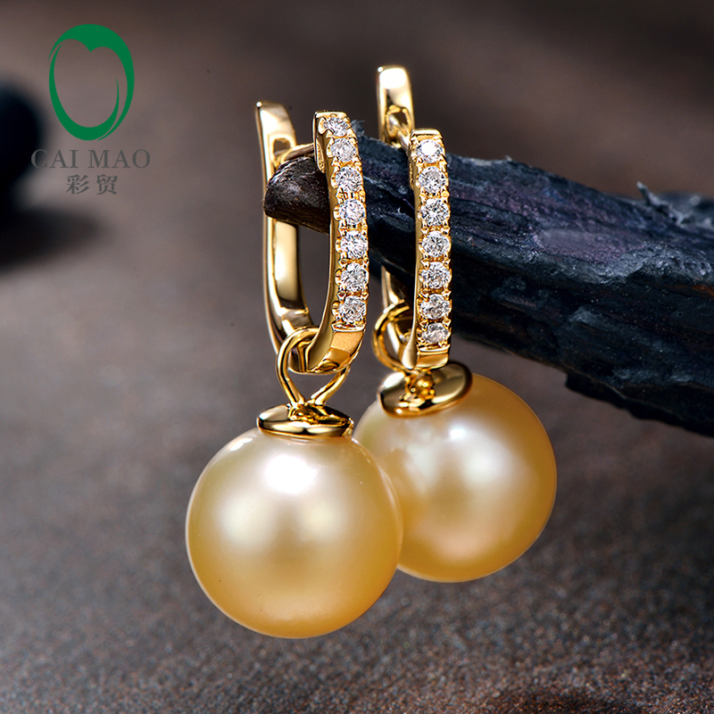 Round SouthSea Pearl 14k Yellow Gold New Classic Engagement Diamond Earring Free shipping For Party