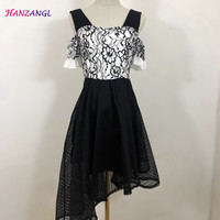 HANZANGL 2018 Summer Dress Womens Short Sleeve Black and White Flower Lace Dress Irregular Hem Vintage Casual Party Dreses