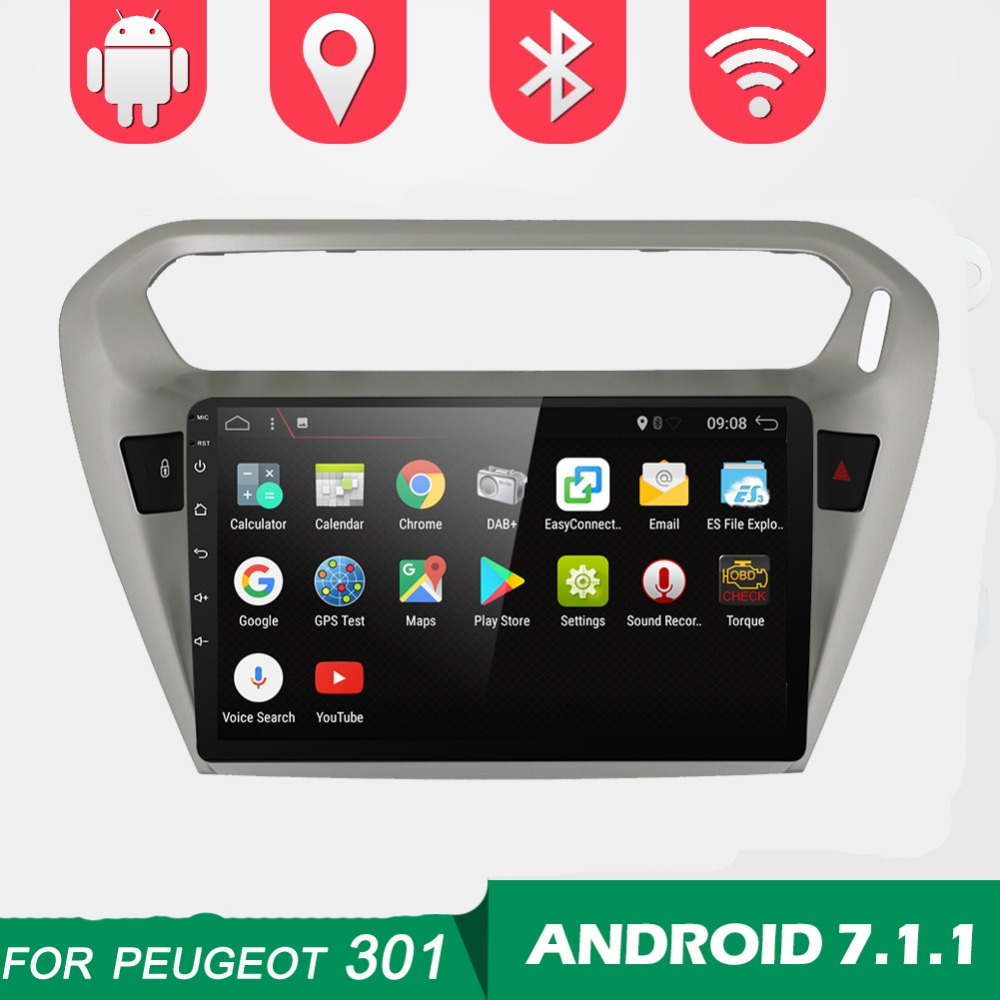 BOSION 9 inch Android 7.1.1 RAM 2GB Car DVD Player for Peugeot 301 for Citroen Elysee 2014+ gps radio tape record stereo rds