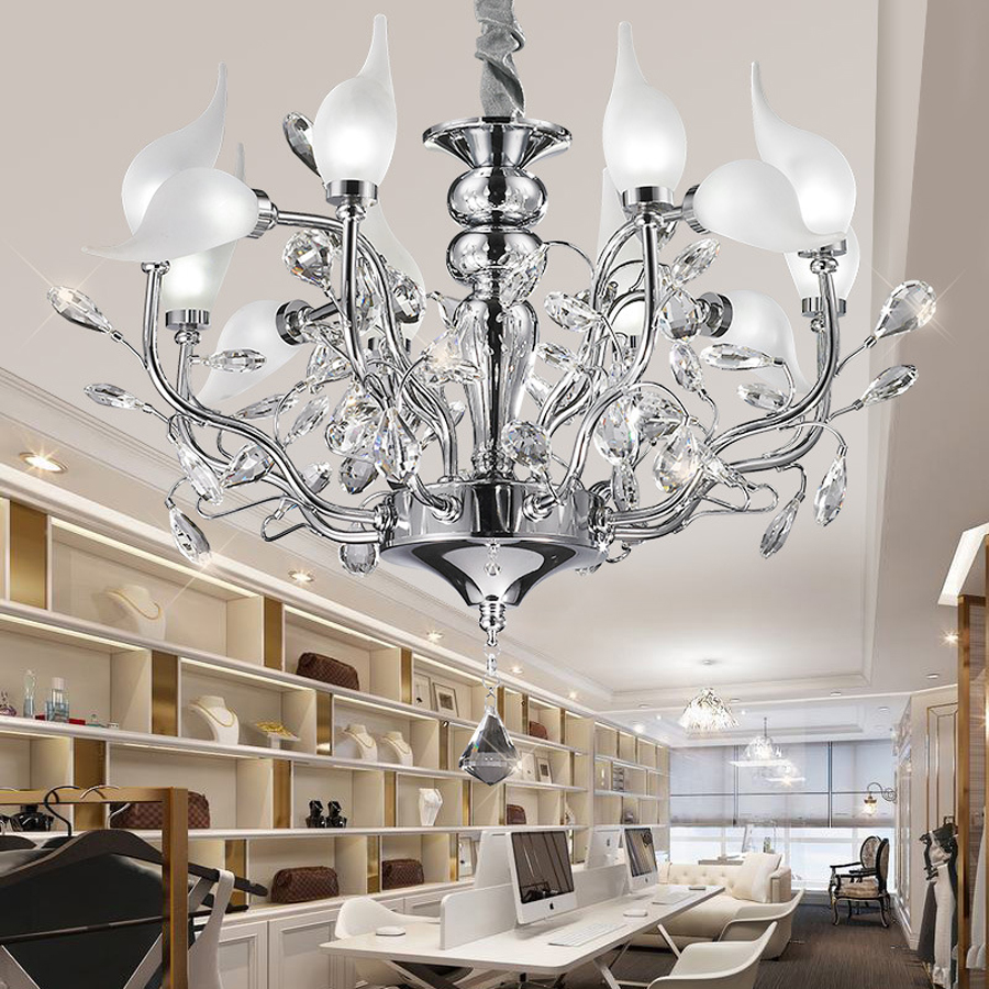Creative Crystal 12 light source silver chandelier modern minimalist ...