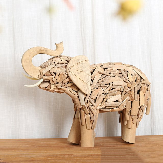American rural creative gifts wooden elephant handicraft Southeast ...