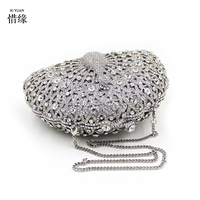 New Women Hand beaded Clutch Fashion Colored Crystal Evening Bag Pearl Party Handbag Crown Peacock Diamond Chain Shoulder bags