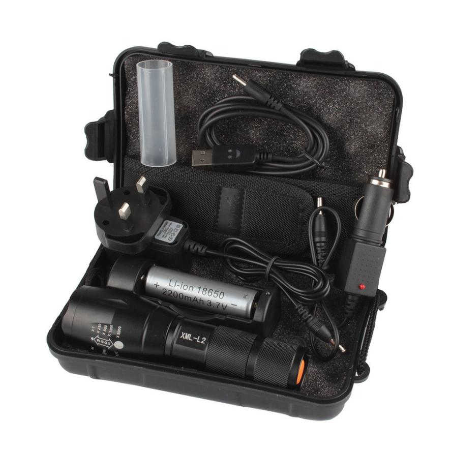New waterproof rechargeable multi-function flashlight kit 6000LM X800 L2 LED ZOOM flashlight strong battery P35