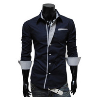 2017 men's fashion solid color shirt Autumn Spring male long-sleeved Casual Shirts turn down collar slim fit 5 color size M~3XL