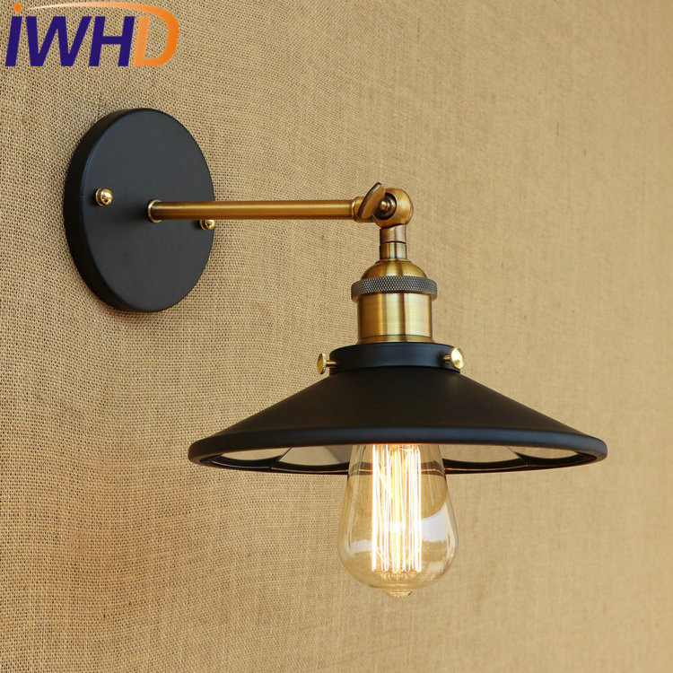 IWHD Loft Edison Wall Sconce Industrial Wall Lamp Iron Mirror Glass Vintage Wall Light Fixtures Home Lighting Lampe Murale iwhd loft style creative retro wheels droplight edison industrial vintage pendant light fixtures iron led hanging lamp lighting