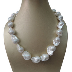 100% NATURE FRESH-WATER BIG Baroque PEARL NECKLACE-good quanlity-925 SILIVER HOOK