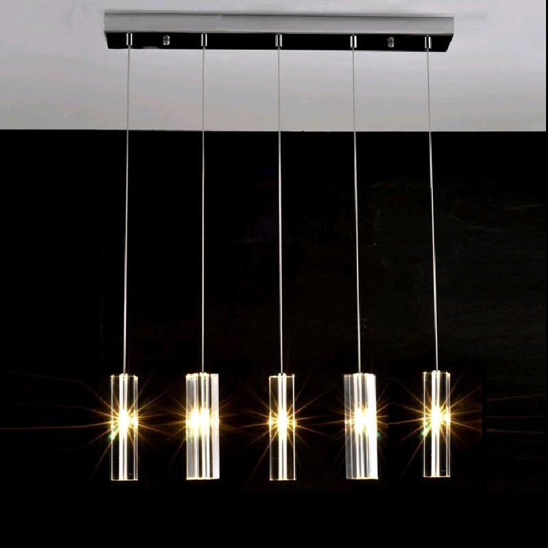 Modern Crystal Rod Dining Iron Table Lamp Pendant Lights Kitchen Lamps LED Light Rectangular Lighting Lampe Bar Deco