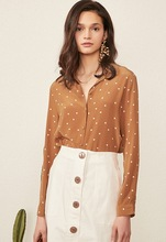 Silk Retro Caramel-Colored Buckled Blouse