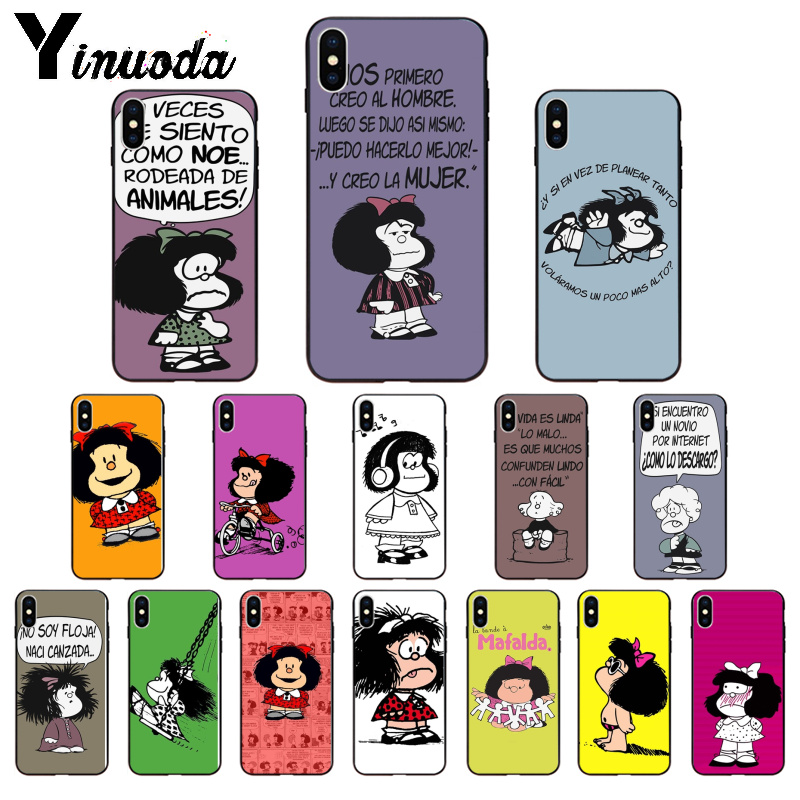 Yinuoda Argentina Quino Mafalda Girl TPU Soft Phone Accessories Phone Case for iPhone 5 5Sx 6 7 7plus 8 8Plus X XS MAX XR