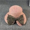Новый Широкими Полями Шляпа Флоппи Женщины Соломенная Шляпа 2016 Мода твердые Женщины Летняя Шляпа Бантом Складной Пляж Вс Шляпы Для Женщин