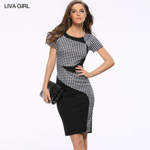 New Summer Women's Sexy Casual Dress Patchwork Strap Rear Zippers Dress O neck Pencil Slim bodycon Party Dresses AF702