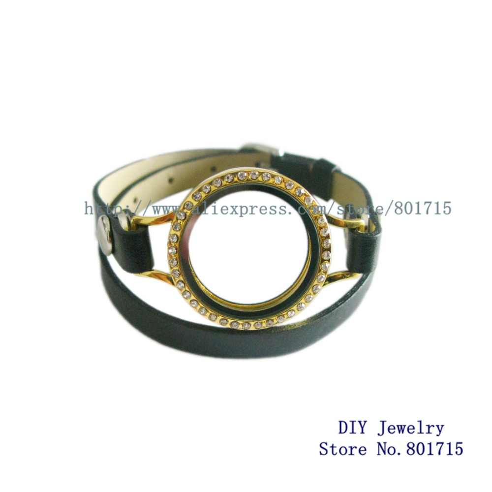 Goud Bling Ronde Twist Schroefdraad Top Medaillon Kopie Rvs Medaillon Drijvende Medaillons Met Lederen Wrap Medaillon Armband