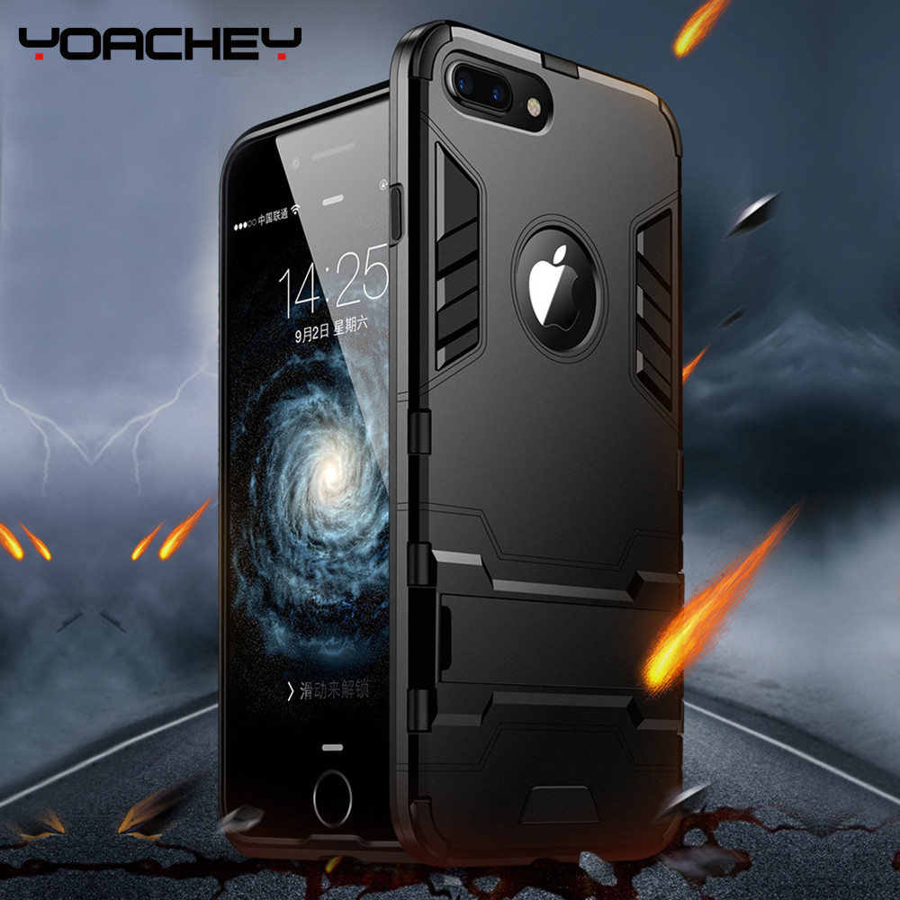 Luxury ShockProof Phone Holder Case For iPhone XS 7 8 6 6S Plus Hybrid TPU Slim Durable Armor Stand Cover For iPhone8 X 5 5S SE in Fitted Cases from Cellphones Telecommunications