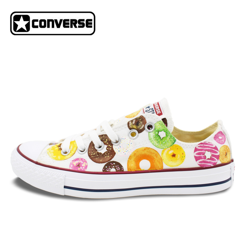 Low Top Donut Original Design Converse All Star Women Men Shoes Hand Painted Shoes Girls Boys Sneakers Woman Man Christmas Gifts original adidas women s low top training shoes sneakers