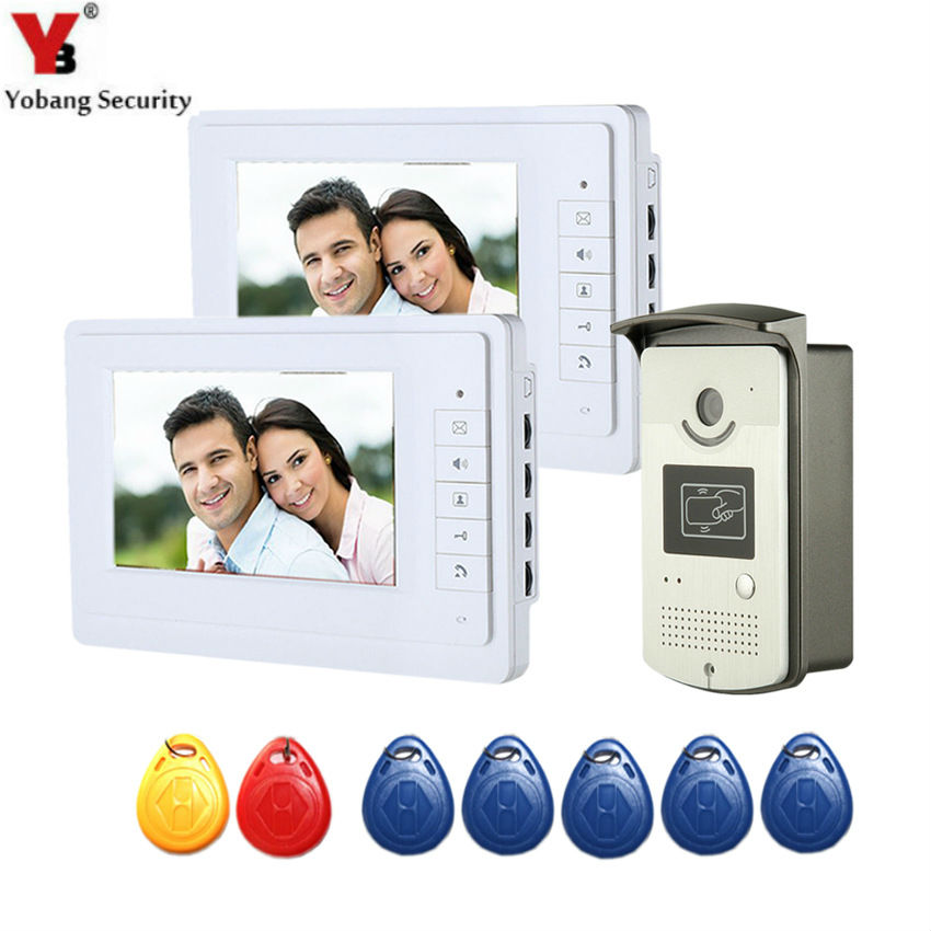 YobangSecurity Wired 7 Inch Video Door Bell Phone Intercom RFID Card Access Control Home Gate Entry System for 2 Apartment yobangsecurity wired 7 inch video door bell phone intercom rfid card access control home gate entry system for 2 apartment