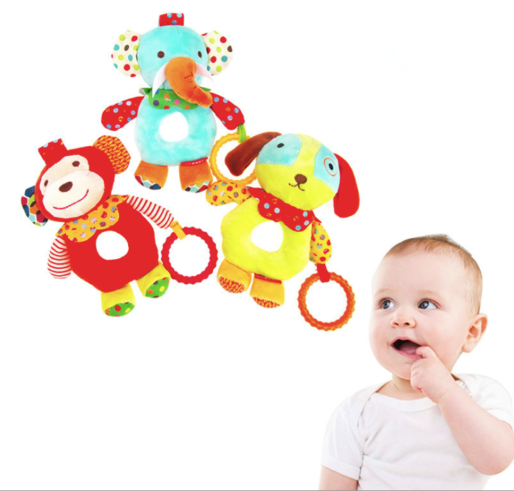 Roundness O Shape Hand Stick Spinning Ball Crib Baby Rattles Mobiles Bed Bell Stroller Pendant Plush Hanging Soft Toys