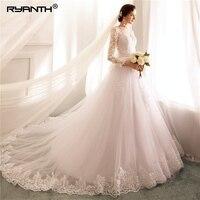 Ryanth Vestido De Noiva бальное платье с длинным рукавом свадебные платья 2018 со съемной поезд Кружева Свадебные платья с жемчугом 2 в 1 Mariage