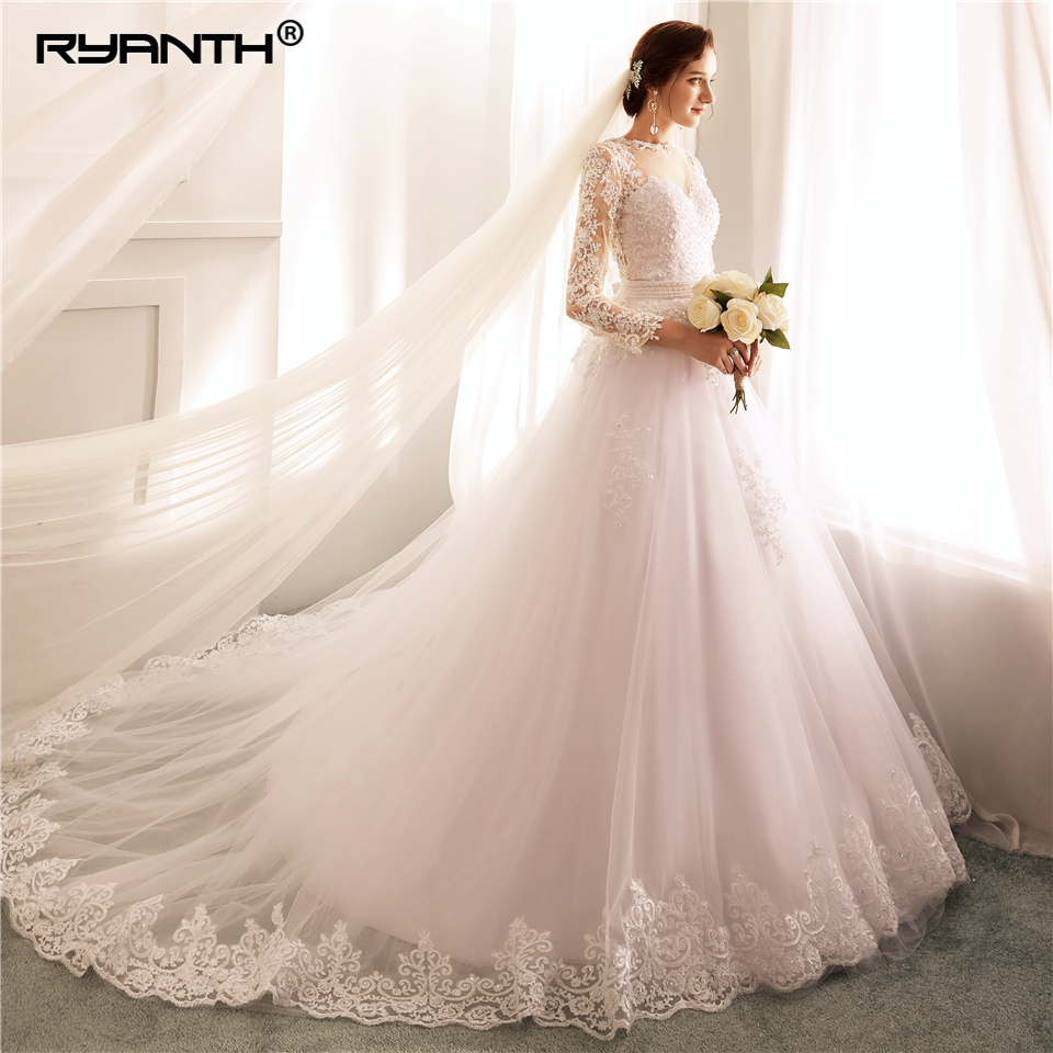 Ryanth Vestido De Noiva Ball Gown Long Sleeve Wedding Dresses 2018 with Detachable Train Lace Pearls Bridal Gowns 2 in 1 Mariage