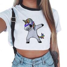 CDJLFH Crop Top Tshirt Women Unicorn Sexy T-shirt Female Casual Tees Cute  Summer ac140f360e13