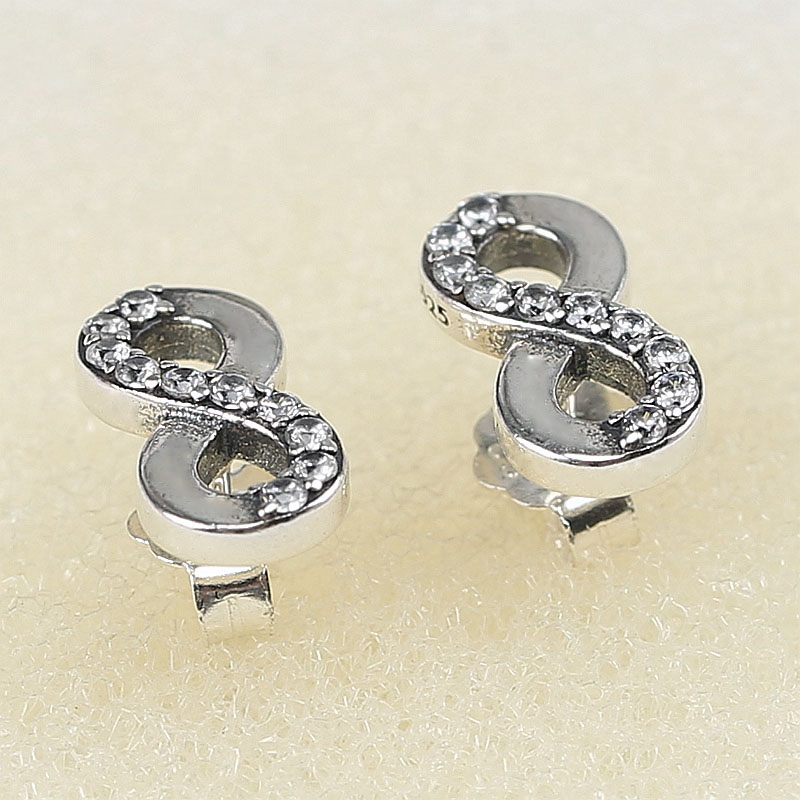 Fashion 925 Sterling Silver Branded Earrings For Women Infinite Love Earrings Studs Clear CZ Fine Original Europe Jewelry Gift in Stud Earrings from Jewelry Accessories