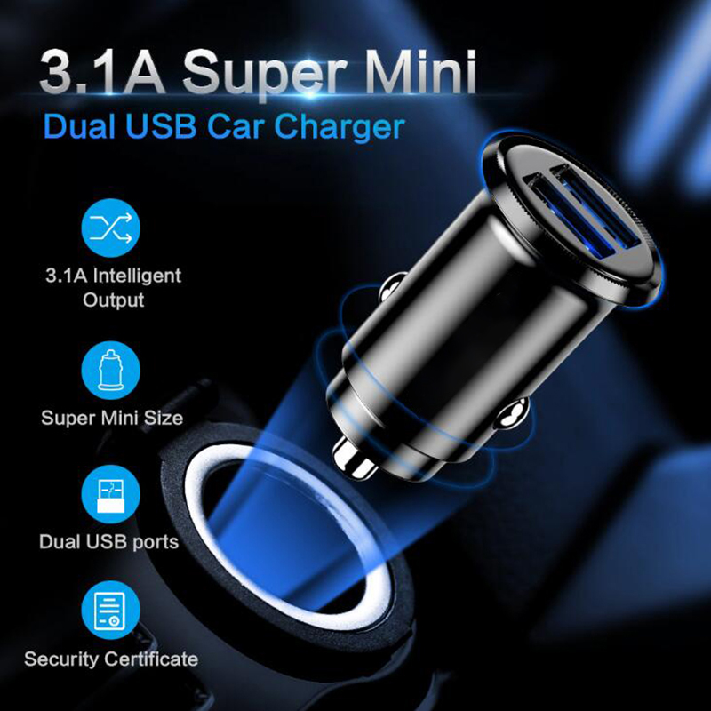 Car Charger For Mobile Phone 5V 3.1A Mini Fast Quick Charging Dual 2 USB Port Car Charger Adapter Black For Cell Phone