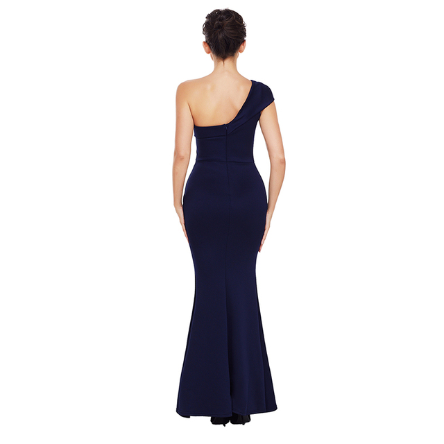One shoulder bodycon navy evening dress