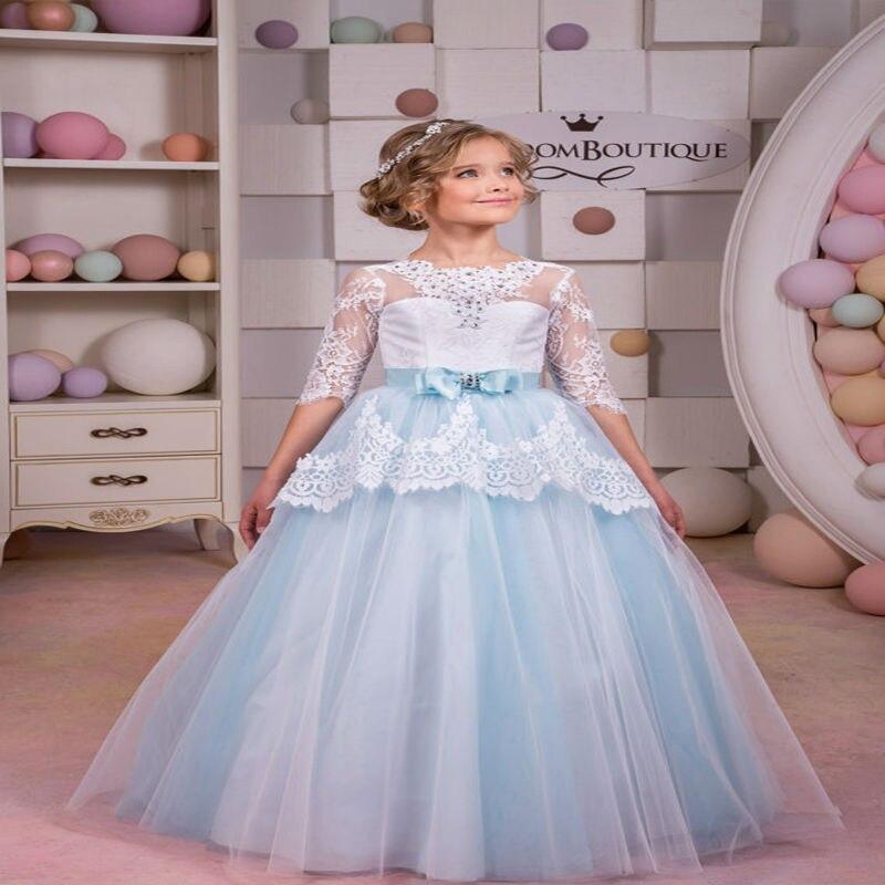5aa47e338fed2 Blanc et Bleu Dentelle Fleur Fille Robe de Fête D anniversaire De Mariage  de Vacances Robe 3 4 Manches Mère Fille Robes 2 12ans dans Famille Des  Vêtements ...