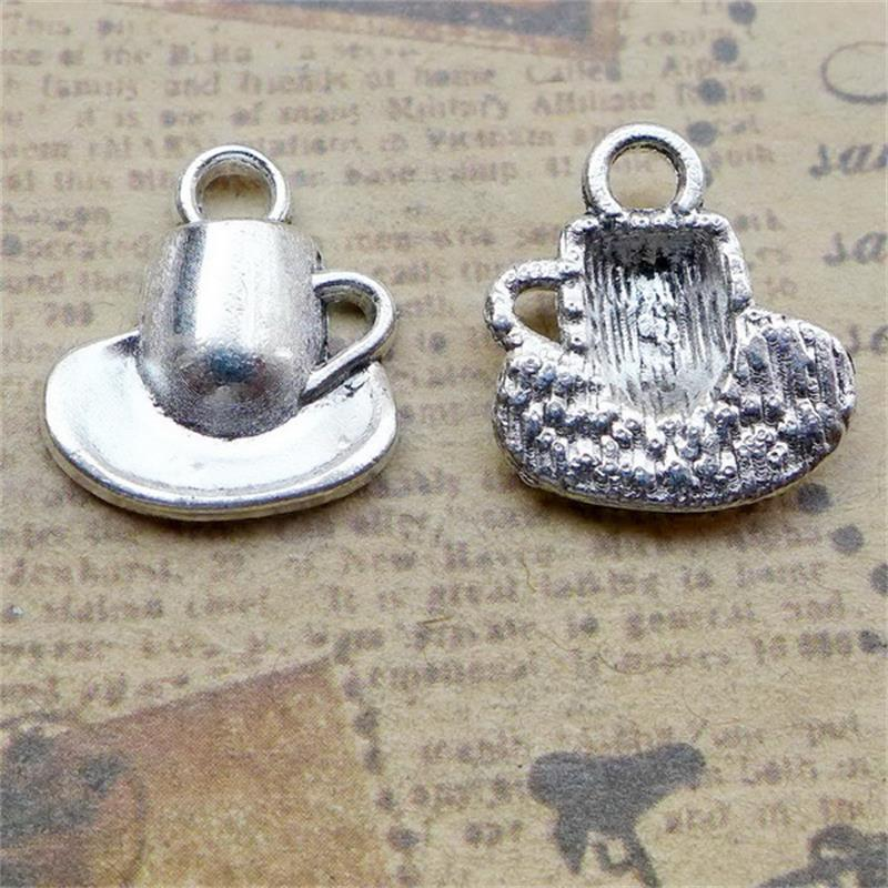 BULK 30 Zinc Alloy Drink Beverage Theme Coffee Cup Charms Antique Silver Plated DIY Bracelet Charms Making 16.5*15mm 1.7g