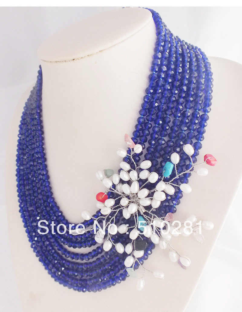 2019-5-15-0826#Free ship!!!   Amazing Blue Crystal Chain Jewelry Necklace