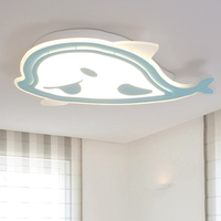 MF Remote led lights Modern for bedroom dimmer light fixture meters LY8400 white blue chandeliers Whale shape for kids
