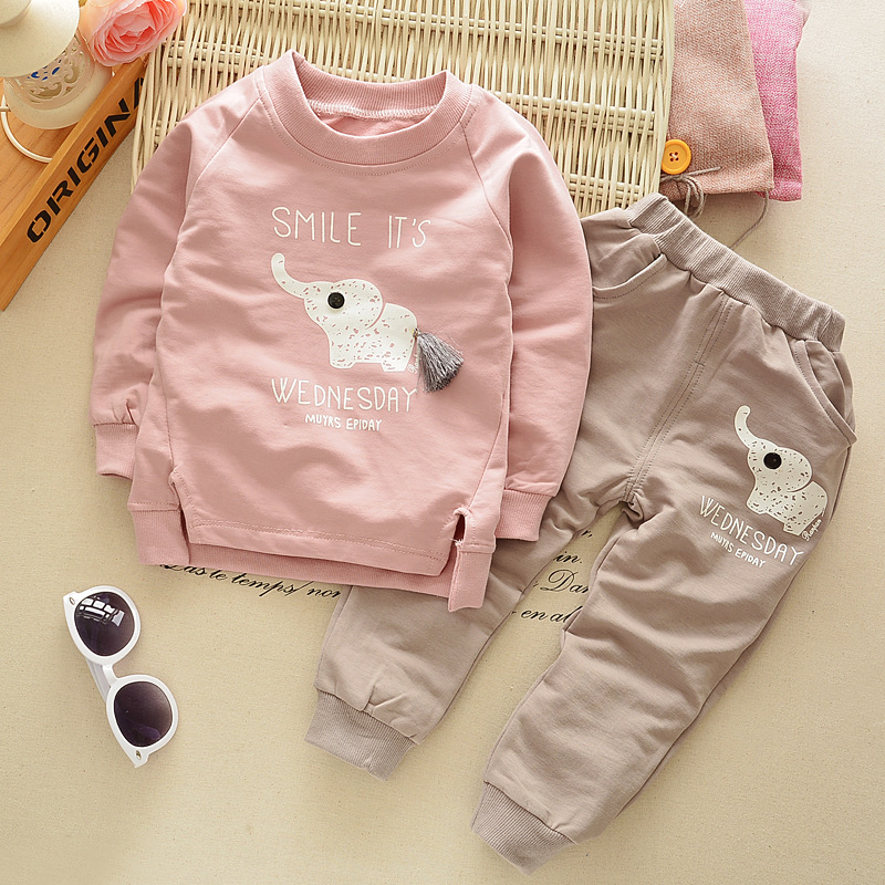 [Mumsbest] New Autumn Spring baby children boys girls Cartoon Elephant Cotton Clothing Sets T-Shirt+Pants Sets Suit 12M-4T