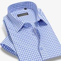 Bamboo Plaid Shirt Men Short Sleeve Dress Shirts Brand Fashion Formal Business Male Casual Shirt Plus Size 4Xl Summer Style Slim