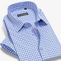 A cuadros de bambú hombres de la camisa de manga corta camisas de vestir marca moda Formal , camisa Casual Male Plus tamaño 4Xl Summer del estilo delgado