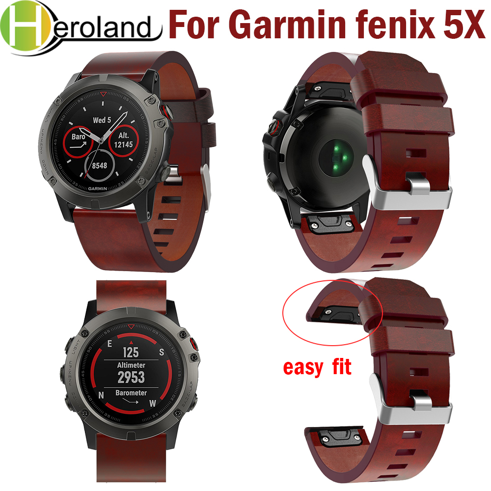 26mm Easy Fit Watch Strap For Garmin Fenix 5X/5X Plus Quick Release Strap Leather Watchband For Garmin Fenix 5X Wrist Band Sport