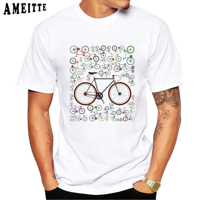 e66541175 Men's Funny Love Fixie Road Bikes Printed T Shirt Bicycle lovers Design Boy  T-Shirt Summer Humor Men Tops Novelty O-neck Tees