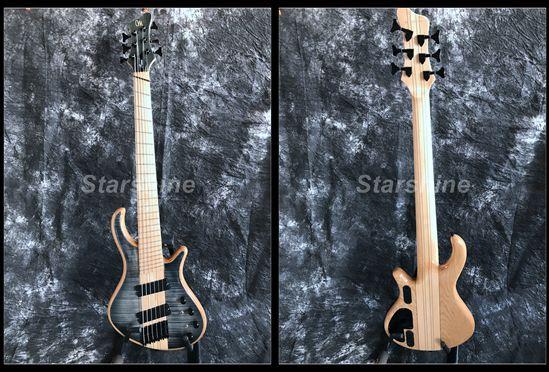 Starshine haute qualité 6 cordes guitare basse électrique YL6-HD90 cou à travers le corps flammé érable haut Fanned fannts mâle touche