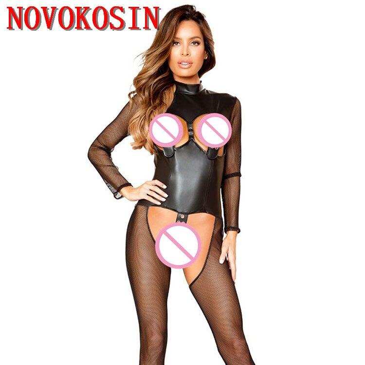 2019 Vrouwelijke Open Buste Kruis Pak Kostuum Pvc Faux Leather Black Tulle Jumpsuit Gothic Look Play Game Teddy Met Kous Aantrekkelijk Uiterlijk