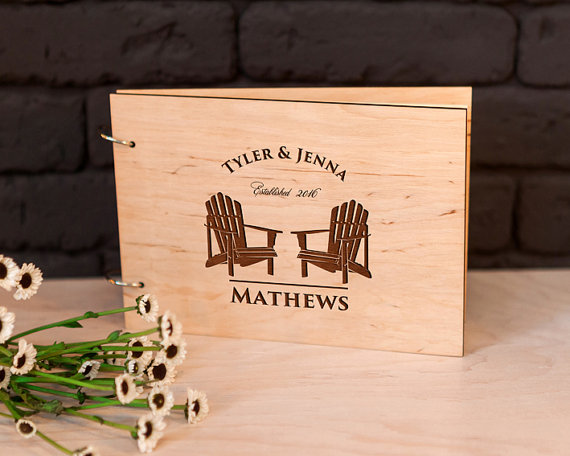 Personalized Rustic Guest Book Adirondack Chairs Wedding Photo