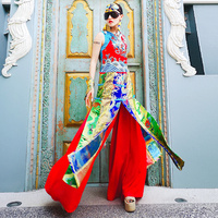 Chinese Style Embroidery Dragon Split Dress Vintage National Female Stand Sleeveless Gowns Noble Women Banquet Formal Costumes