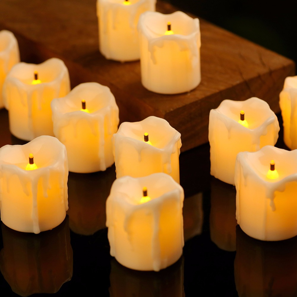 Pack of 4 or 8 Timer Flameless Flickering Led Candle Light, Plastic Fake Decorative Christmas Candles, Black wick 6 hours