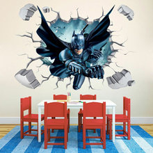 40x60 cm 3D DIY Batman Wand Aufkleber Abnehmbare Wand Aufkleber Decals Wandbild Kunst Batman Hero Poster Für Kinder room Home Decor(China)