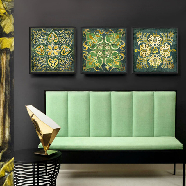 Indian National Pattern Retro 3 Piece Canvas Wall Art Home Painting Posters Prints Schilderij