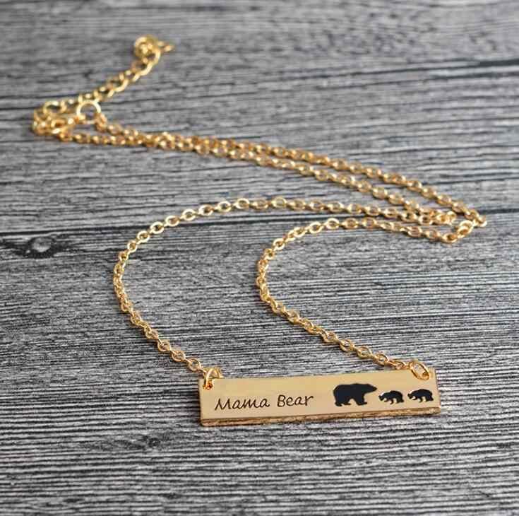 2018 mãe urso tag gravado animal pingente colar de ouro prata amor colar simples moda mãe e crianças jóias 6 estilos