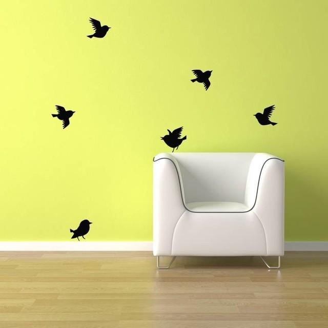 Birds Wall Decal 6 Birds Flying Bird Vinyl Sticker Mural Decoration ...