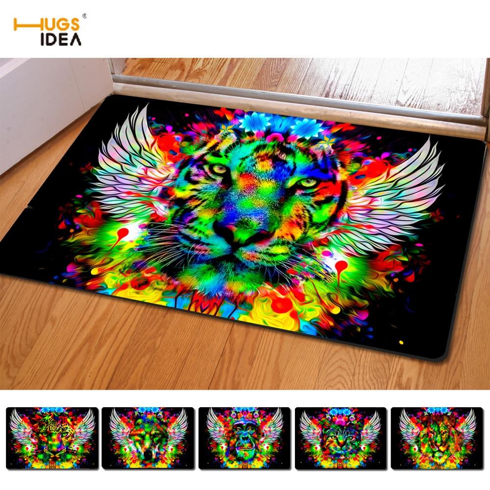 HUGSIDEA Creative 3D Cool Animal Lion Wolf Pattern Alfombra de piso - Textiles para el hogar