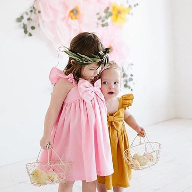 2018 Toddler Baby Kid Girl Plaid Lace Belt Backless Yellow Plaid Bow Collar Sleeveless Clothes Cute Summer Dress цены онлайн