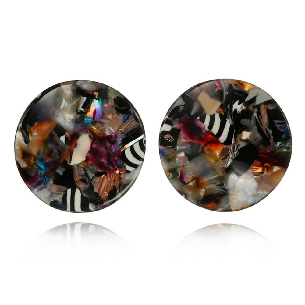Fashion Colorful Acrylic Zebra Big Round Ear Studs Banquet