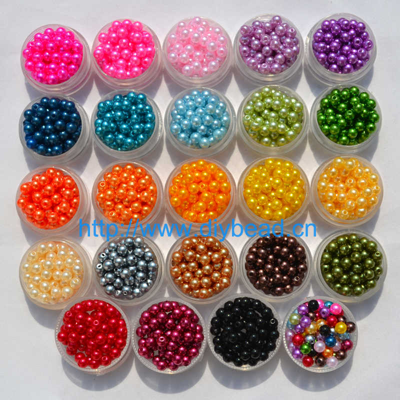 400 個 DIY ファッションジュエリーアクセサリー 6 ミリメートルアクリルビーズプラスチックイミテーションパールラウンド形状 18 色ブレスレット部門