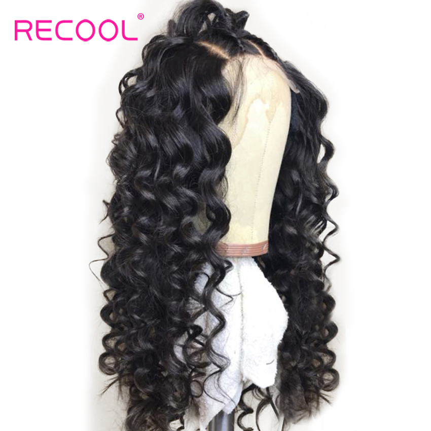 Recool Loose Deep Wave Wig Full Lace Human Hair Wigs With Baby Hair Glueless Brazilian Lace